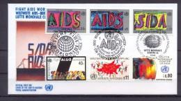 United Nations Geneva 1990 - FDC - Fight AIDS Worldwide - ONU