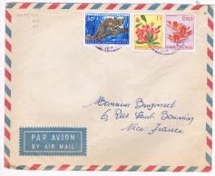 Congo Belge / N� 310 , 317 & 353 sur lettre ; C�D  ?? ( fleurs & animaux )