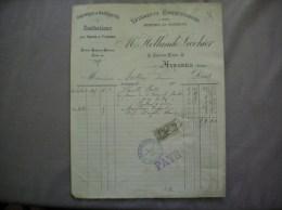 AVESNES NORD Mme HOLLANDE LECOHIER VÊTEMENTS CONFECTIONNES DRAPERIES & NOUVEAUTES 55 GRANDE PLACE FACTURE DU 21/2/1906 - Textile & Vestimentaire