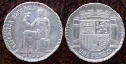 (J) ESPAÑA - SPAIN - Republic:  Silver Peseta 1933-34 XF (1025) - 1 Peseta