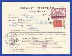 AVISO DE RECEPÇÃO . SERVIÇO NACIONAL -- CACHET - ABRANTES, 10.3.52 .. 2 Images - 1910-... República
