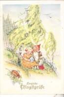 ZWERGE / Gnome / Dwarfs / Nains / Nani / Dwergen / Enanos - Künstler-Karte , Zwwrg Mit Mädchen & Maikäfer - Postkaarten