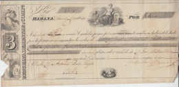 *E633 CUBA SPAIN ESPAÑA ENGRAVING INVOICE 1860 LETRA DE CAMBIO REBUELTA DEMESTRE - Jetons & Médailles