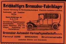 Original Werbung / Reklame - 1914 - Brennabor - Fabriklager In Bremen , Brunnenstraße , Automobile !!! - KFZ