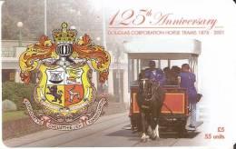MAN-181 TARJETA DE LA ISLA DE MAN DEL 125 ANIVERSARIO DOUGLAS HORSE TRAMS - Isla De Man