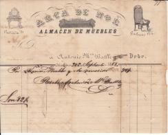 """*E655 CUBA SPAIN ESPAÑA OLD ENGRAVING INVOICE 1861 \""""MUEBLERIA ARCA DE NOE\ - Historical Documents"""