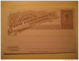 Etat independant 10c+10c reponse reply palm Cote d�Or ... double postal stationery card BELGIAN CONGO Belgium Afri