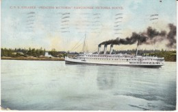 'Princess Victoria' CPR Steamer On Vancouver-Victoria Route, C1900s Vintage Postcard, Doane Postmark - Paquebote