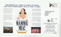 2010 GB Illus ADVERT COVER (card) MAMA MIA MUSICAL  Prepaid Post Brenhinol PPI Stamps - Theatre