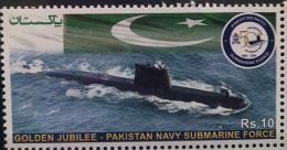 PAKISTAN 2014 Golden Jubilee Navy Submarine Force,Flags,Sea .Single Stamp MNH..Cheap...!! - Pakistan