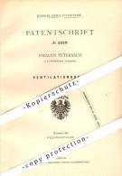 Original Patent - Johann Petersson In Landskrona , Schweden , 1878 , Ventilationsofen , Ofen !!! - Schweden