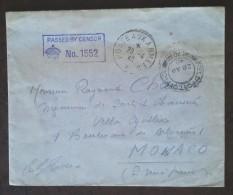 Enveloppe Franchise Militaire 1940 Double Oblitération FIELD POST OFFICE 70 Et POSTE AUX ARMEES Vers  MONACO - Postmark Collection (Covers)