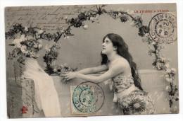 1904--carte Postale Avec Composition De Type Blanc 1c Et 5c- 7 Cachets COGNAC-16 Et Un Cachet BOURESSE-86 - 1900-29 Blanc