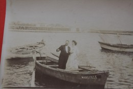 1927 VINTAGE RARE PHOTO ORIGINALE SEPIA MARIAGE SUR UN POINTU UNE BARQUE MARSEILLAISE MARSEILLE SAINT CHARLES