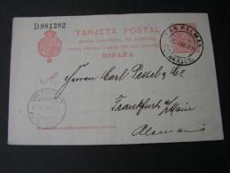 == Spanien , Karte Las Palmas Canarias Nach Frankfurt1907  Bug Mitte Not Perfect - Ganzsachen