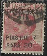 LEVANTE COSTANTINOPOLI 1923 SOPRASTAMPATO D´ITALIA ITALY OVERPRINTED 7,20 SU CENT. 60 C USATO USED OBLITERE´ - Bureaux Etrangers