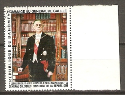 DAHOMEY.   Aéro.   1967   Y&T N° 66 Oblitéré.    Général De Gaulle - Bénin – Dahomey (1960-...)