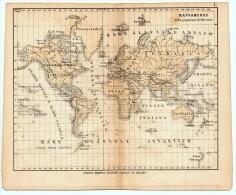 ULRICO HOEPLI DEL R. KIEPERT - MAPPAMONDO NELLA PROIEZIONE DI MERCATOR - 1880 - Carte Geographique