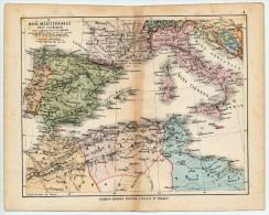 ULRICO HOEPLI DEL R. KIEPERT - MARE MEDITERRANEO PARTE OCCIDENTALE - 1880 - Carte Geographique