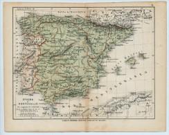 ULRICO HOEPLI DEL R. KIEPERT - SPAGNA E PORTOGALLO - 1880 - Carte Geographique