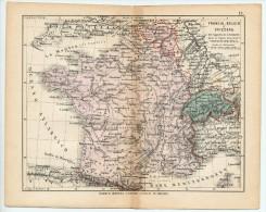 ULRICO HOEPLI DEL R. KIEPERT - FRANCIA, BELGIO E SVIZZERA - 1880 - Carte Geographique