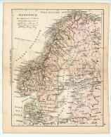 ULRICO HOEPLI DEL R. KIEPERT - SCANDINAVIA - 1880 - Carte Geographique