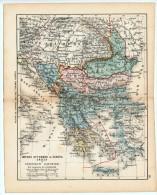 ULRICO HOEPLI DEL R. KIEPERT - IMP. OTTOMANO IN EUROPA GRECIA E PRINCIPATI DANUBIANI - 1880 - Carte Geographique