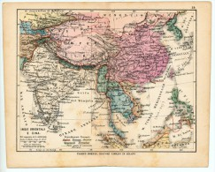 ULRICO HOEPLI DEL R. KIEPERT - INDIE ORIENTALI E CINA - 1880 - Carte Geographique