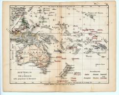 ULRICO HOEPLI DEL R. KIEPERT - AUSTRALIA E POLINESIA NELLA PROIEZIONE DI MERCATORE - 1880 - Carte Geographique