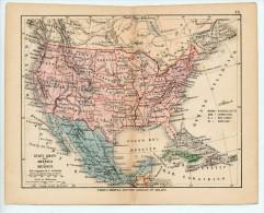 ULRICO HOEPLI DEL R. KIEPERT - STATI UNITI DELL'AMERICA E MESSICO - 1880 - Carte Geographique