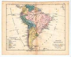 ULRICO HOEPLI DEL R. KIEPERT - AMERICA MERIDIONALE - 1880 - Carte Geographique