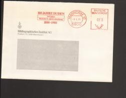 Deutschland 100 Jahre Duden / Deutsche Einheitsschreibung Freistempel Aus Mannheim Von 1981 - Sprachen