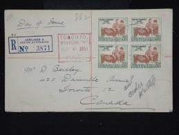 AUSTRALIE - Enveloppe En Recommandée De Adelaide Pour Toronto En 1953 - Aff Plaisant - à Voir P8652 - 1952-65 Elizabeth II : Pre-Decimals