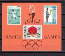 Ghana1964,3V In Block,football,fussball,voetbal,fútbol,calcio,olympic Rings,torch,toorts, MNH/Postfris(D2251) - Zomer 1964: Tokyo