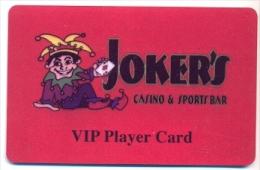 Joker's Casino & Sports Bar, Richland, WA, U.S.A.,  older used BLANK slot or player�s card, #  jokers-1blank