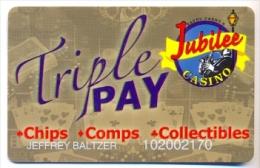 Jubilee Casino, Greenville, MS, U.S.A. older BLANK used slot or player�s card,  jubilee-6blank