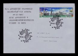 Old Postman Distributeur Courrier Mail 1993 Cover Postes Antwerpen 93  Anvers Belgique Pmk Sp3411 - Post