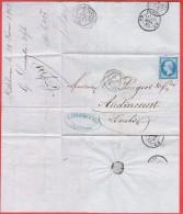 Lillebonne Pour Audincourt 1862 Entête: G.Lemaître & Fils - Marcophilie (Lettres)