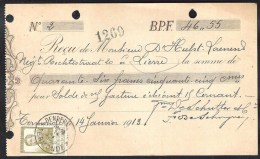 Kwitantie DENDERMONDE/TERMONDE 1913 14 Jan. Met OBP 119 - Bélgica