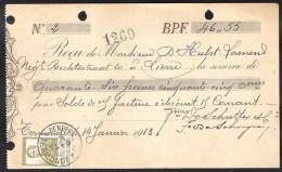 Kwitantie DENDERMONDE/TERMONDE 1913 14 Jan. Met OBP 119 - Belgien