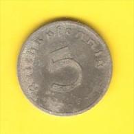 GERMANY  5 REICHSPFENNIG 1940 F (KM # 100) - 5 Reichspfennig