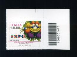 2015 ITALIA 1 FRANCOBOLLO EXPO MILANO 2015 CON CODICE A BARRE - 6. 1946-.. Repubblica