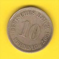 GERMANY  10 PFENNIG 1907 F (KM # 12) - [ 2] 1871-1918 : German Empire