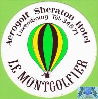 voyo HOTEL AEROGLOF SHERATON Luxembourg Hotel label  Sticker 1980s Vintage Le Montgolfier