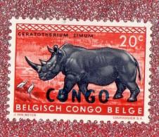 "BELGISCH - CONGO ,,, RINHOCEROS ,,, SURCHARGE NOIR  """" CONGO """" ,** 20 C. ** ,,,NEUF SANS TRACE DE CHARNIERE, - Belgian Congo"