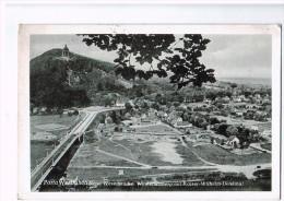 4894   Cpa    PORTA WESTFALICA , Neue Weserbrucke . Wittekindsberg Mit Kaiser Wilhelm - Denkmal 1956 - Porta Westfalica