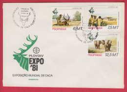 179086  / 1981 FDC -  World Hunting Exhibition EXPO 81 PLOVDIV BULGARIA , Animal Elephant , Impala Mozambique Mosambik - Mozambico