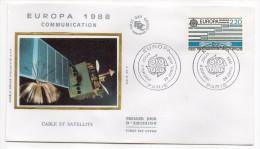 """1988--enveloppe FDC """"Soie"""" -EUROPA--Communications--Câble Et Satellite---cachet  PARIS--75 - FDC"""