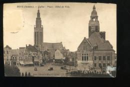 Somme 80 Roye Eglise Place Hôtel De Ville Caffet Timbre Décollé Papier Collé - Roye
