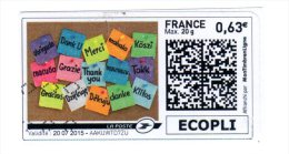 ADHESIF AUTOCOLLANT AUTOADHESIF Personnalisé MONTIMBRENLIGNE 0.63€  Oblitéré  2015    ECOPLI - France